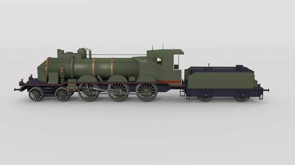 historical swiss steam locomotive 3D model