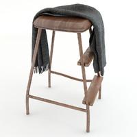 3D model stool plaid