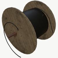 3D wooden coil wood model