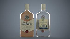 3D bottle ballentine whiskey