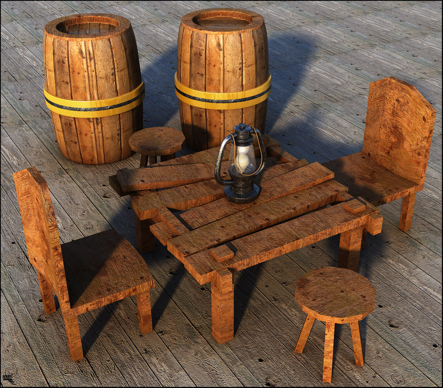 3D table wood rustic