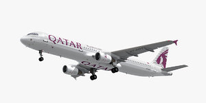 3D model airbus a321-200 qatar airways