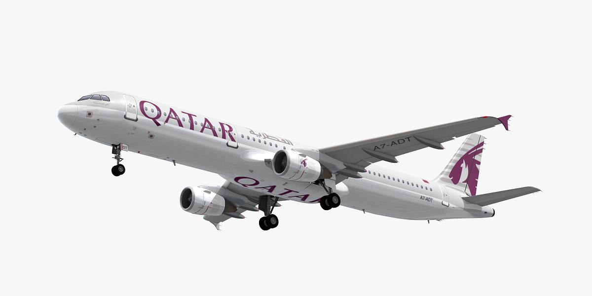 3D model airbus a321-200 qatar airways