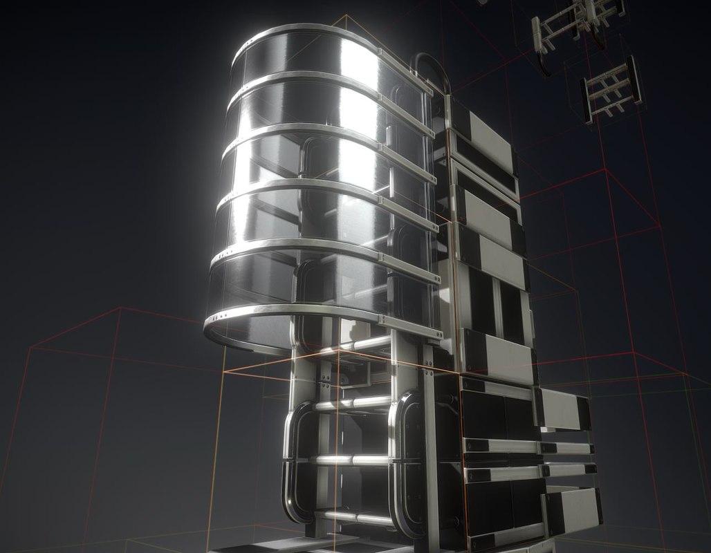 ladder white plastic set 3D model