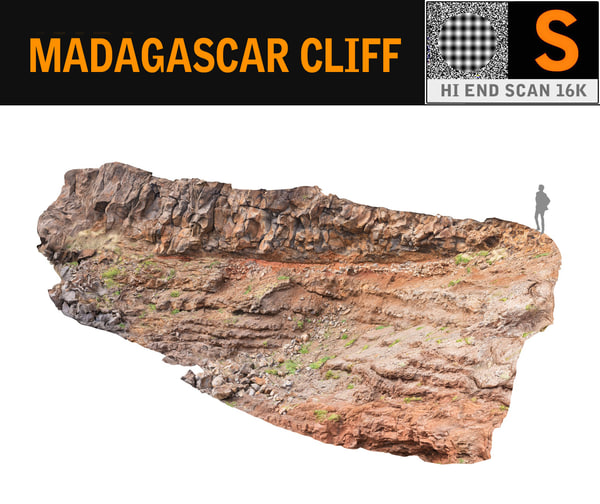 3D madagascar cliff rock 16k model