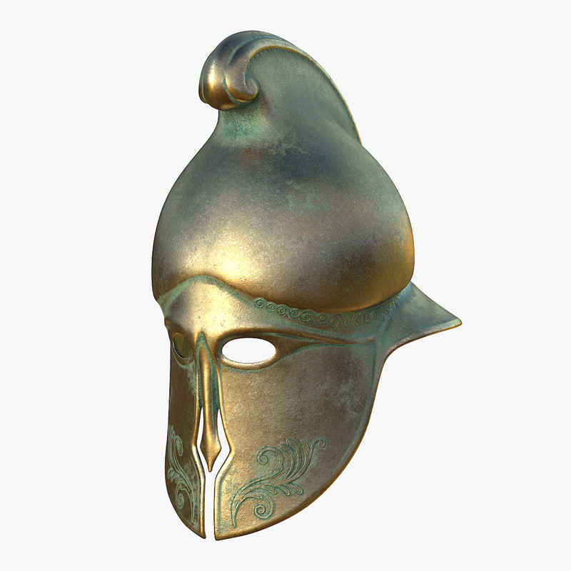 helmet greek bronze model