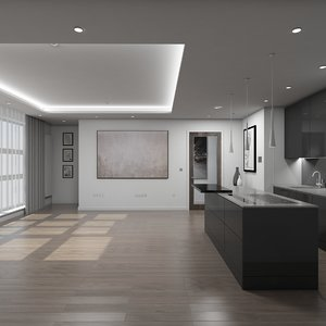 3D living room kitchen model