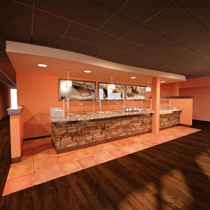 3D model restaurant buffet