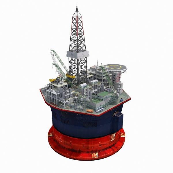 oil rig platform cylindrical 3D model
