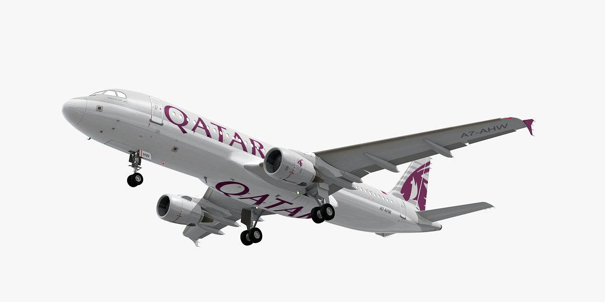 3D model airbus a320-200 qatar airways