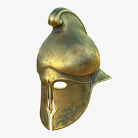 3D helmet greek brass model