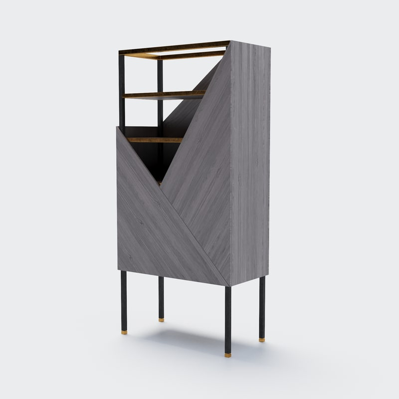 wood veneer highboard rossato 3D model