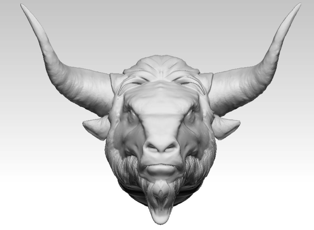 bison bull head 3D model