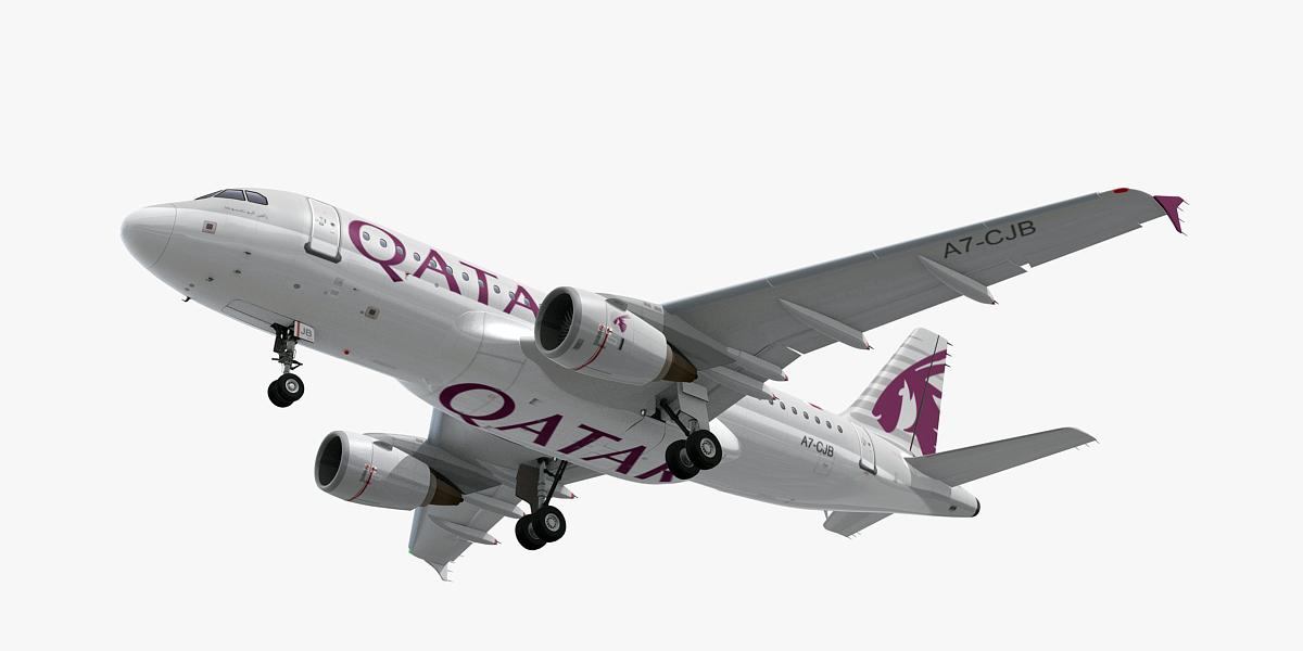 3D airbus a319-lr qatar airways model