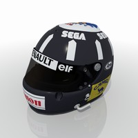 damon hill 1993 racing helmet 3D model