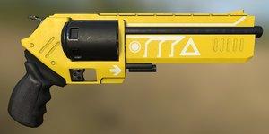 3D scifi revolver gun model