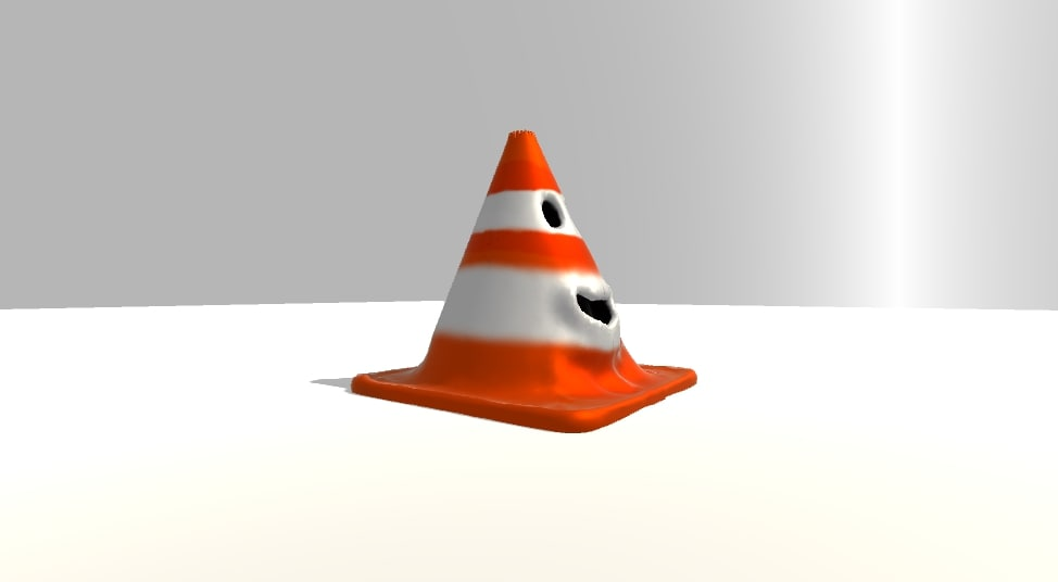 3D rigged traffic cone character