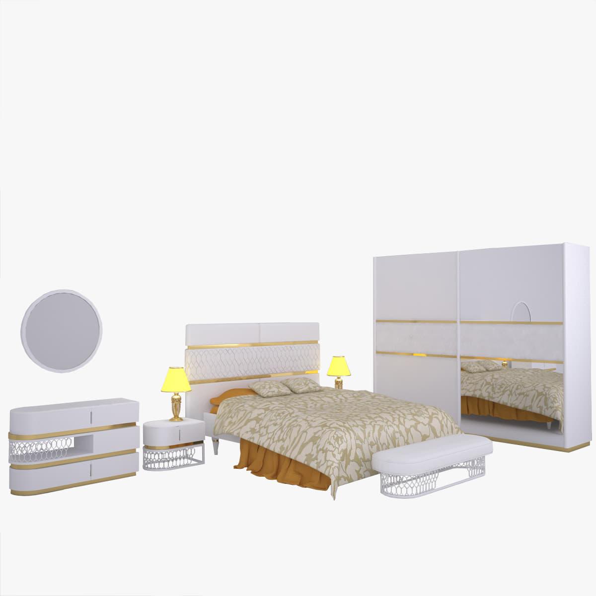 3D bedroom set 01 model