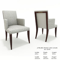 baker atelier dining arm chair 3D model