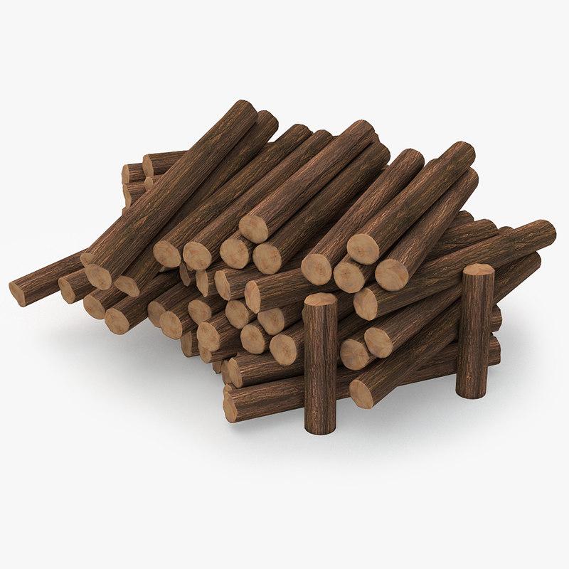 3D wooden logs