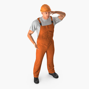 3D model worker orange overalls rigged
