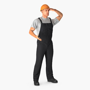 worker black uniform rigged 3D