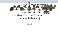 3D voxel inspired medieval town model