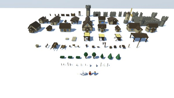 3D voxel inspired medieval town model
