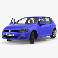 3D volkswagen golf 2017 rigged