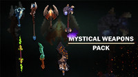 3D model mystical weapons pack