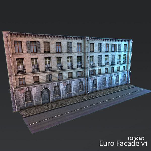 modular facade building 3D model