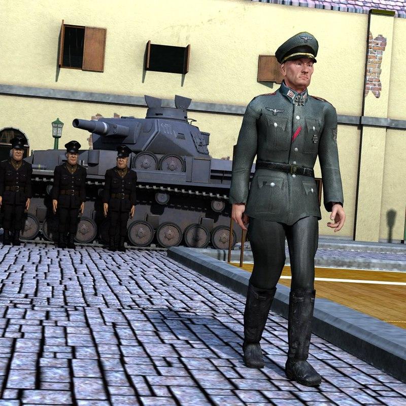 historic german officer clothing poser model