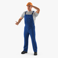 3D construction worker rigged modeled model
