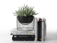 3D books plant pot model