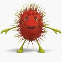 rambutan cartoon 3D model