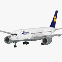 Airbus A350-800 Lufthansa Rigged 3D Model