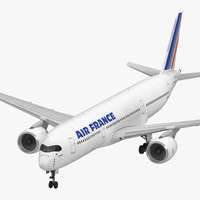 Airbus A350-900 Air France Rigged 3D Model