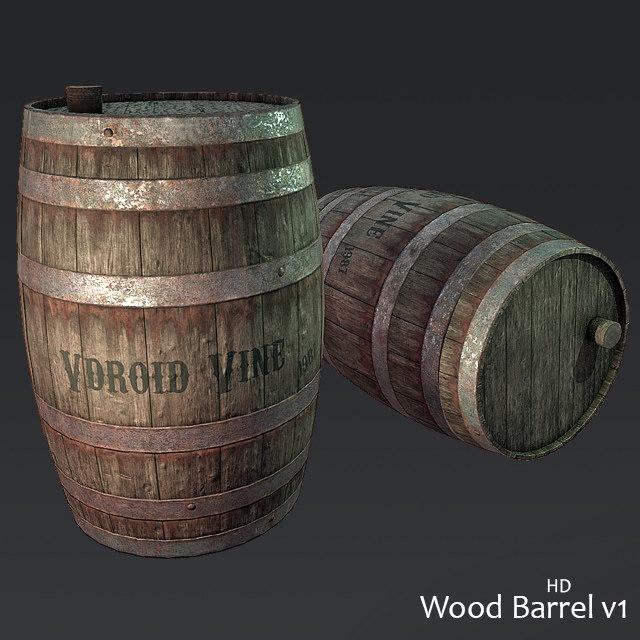 3D model wine barrel hd wood