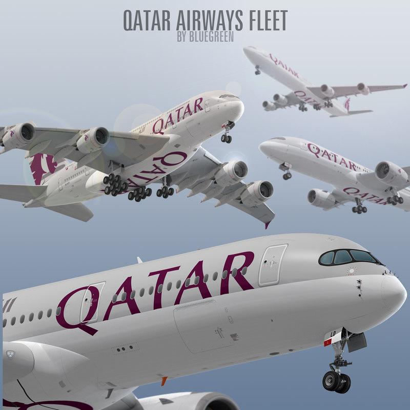 qatar airways fleet 3D