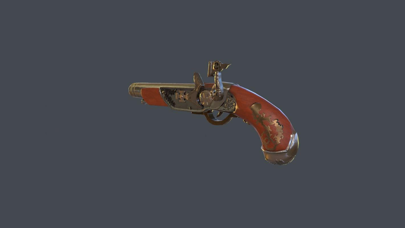 flintlock pistol low-poly model