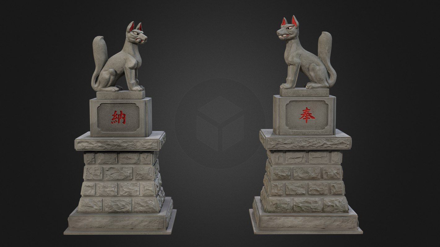 Two Kitsune (Fox) statues from Inari shrine