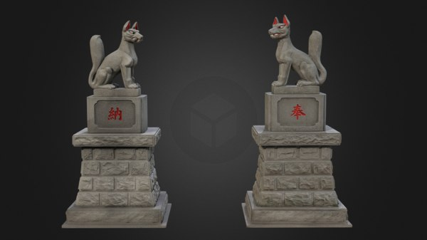 8k inari foxes shrine 3D model