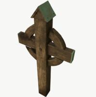 3D model wooden cross