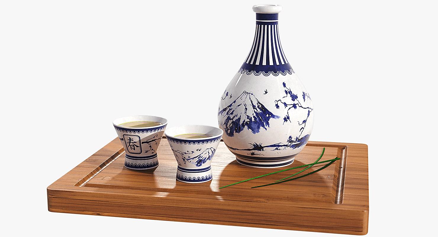 3D sake set model