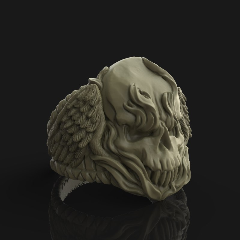 3D winged skull ring model