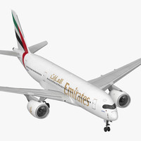 Airbus A350-800 Emirates Air Line Rigged 3D Model