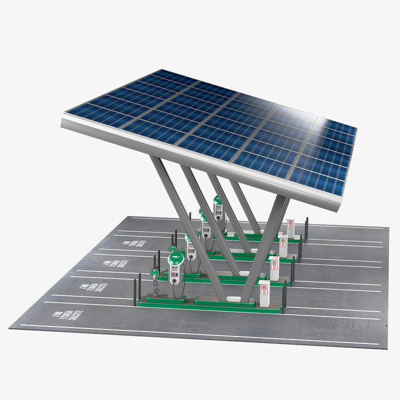 electric vehicle charging station 3D model