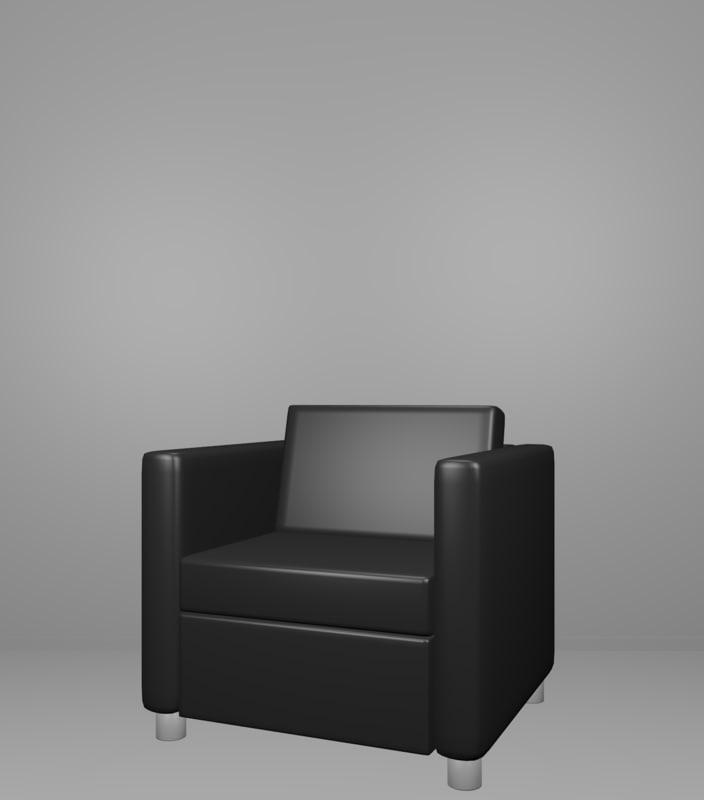 3D modern black chair