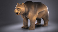 3D wallstreet bear sculpture model