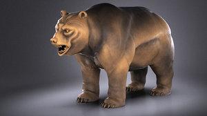 3D wallstreet bear sculpture model